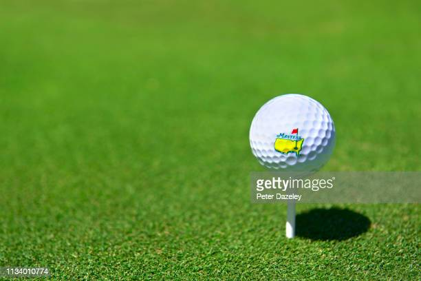 US Masters Golf Ball on Tee Shot at Coombe Hill Golf Club UK 5th March 2019