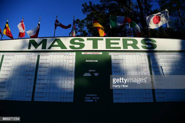 Masters leaderboard is seen near the first fairway during the first round of the 2017 Masters Tournament at Augusta National Golf Club on April 6...