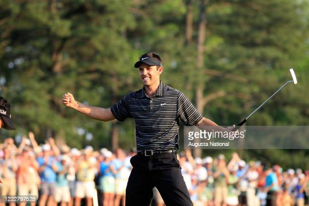 Masters participant Charl Schwartzel of South Africa reacts on No. 18 to win the 2011 Masters Tournament at Augusta National Golf Club in Augusta,...