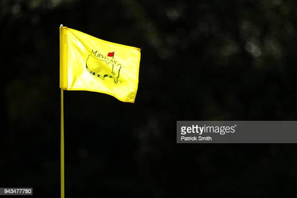 Masters pin flag is displayed during the final round of the 2018 Masters Tournament at Augusta National Golf Club on April 8 2018 in Augusta Georgia