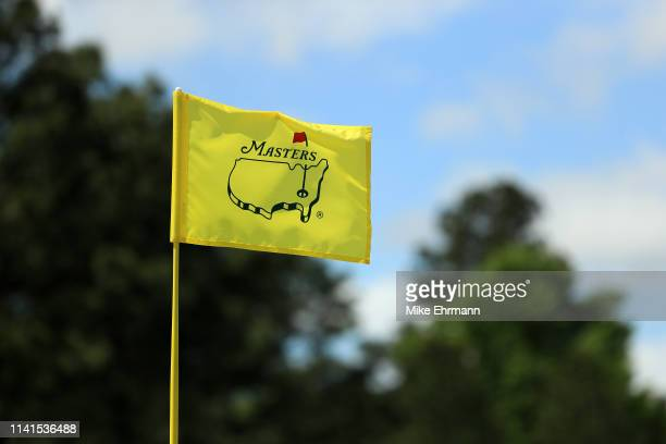 Masters pin flag is seen during a practice round prior to the Masters at Augusta National Golf Club on April 09 2019 in Augusta Georgia