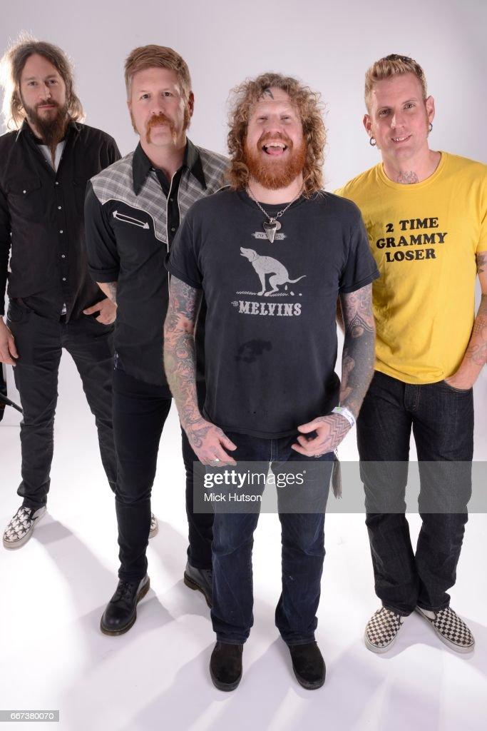 Mastodon, studio group portrait, London, 11th June 2012. L-R Troy Sanders, Bill Kelliher, Brent Hinds, Brann Dailor.