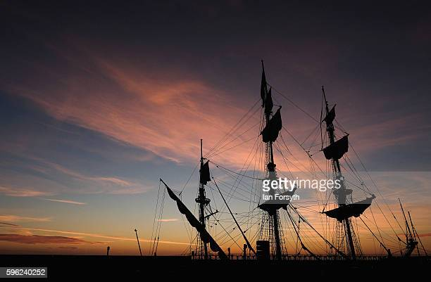 Masts and rigging are seen against the first light of dawn as ships are moored in the harbour during the North Sea Tall Ships Regatta on August 27...