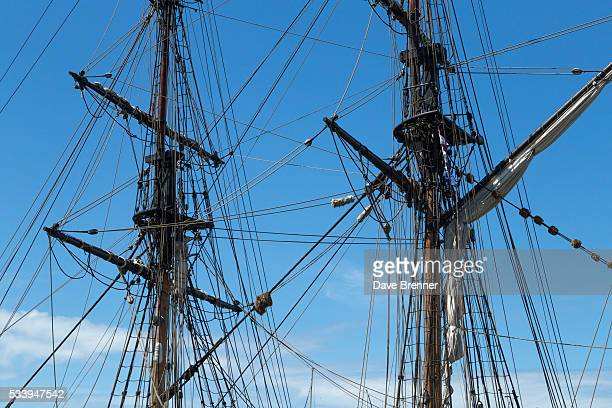 Masts of clipper ship against a blue sky