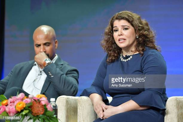 Masud Olufani and Celeste Headlee of Retro Report speak during the 2019 Summer TCA press tour at The Beverly Hilton Hotel on July 30 2019 in Beverly...