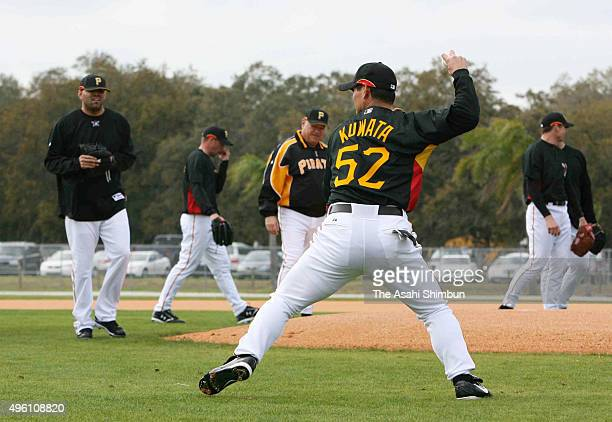 Masumi Kuwata of Pittsburgh Pirates fields during a training session on February 16 2007 in Bradenton Florida