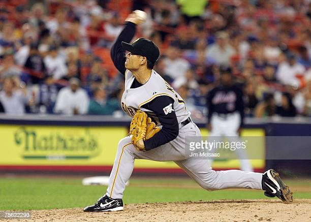 Masumi Kuwata of the Pittsburgh Pirates delivers a pitch against the New York Mets during their game on July 24 2007 at Shea Stadium in the Flushing...