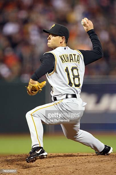 Masumi Kuwata of the Pittsburgh Pirates pitches against the San Francisco Giants at ATT Park August 10 2007 in San Francisco California