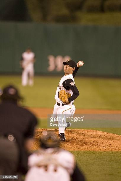 Masumi Kuwata of the Pittsburgh Pirates pitches during the Interleague game against the Texas Rangers at PNC Park in Pittsburgh Pennsylvania on June...