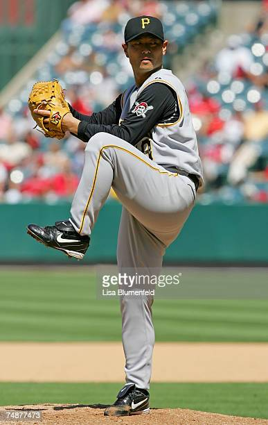 Masumi Kuwata of the Pittsburgh Pirates pitches in the seventh inning against the Los Angeles Angels of Anaheim at Angels Stadium June 24 2007 in...