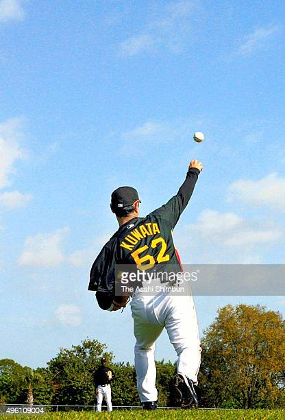 Masumi Kuwata throws during the Pittsburgh Pirates spring camp on February 25 2007 in Bradenton Florida