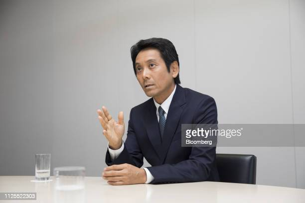 Masumi Minegish president and chief executive officer of Recruit Holdings Co speaks during an interview at the company's headquarters in Tokyo Japan...