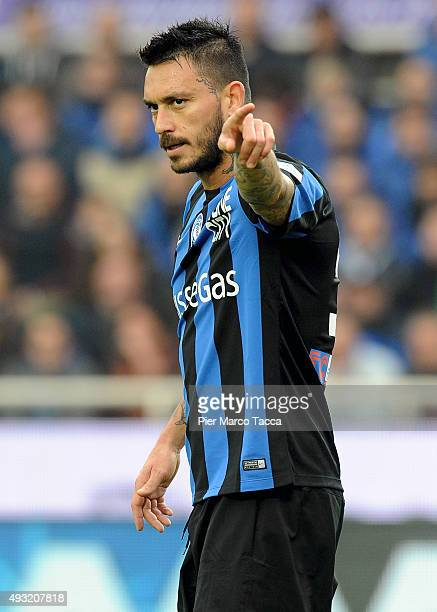 Masuricio Pinilla of Atalanta BC gestures during the Serie A match between Atalanta BC and Carpi FC at Stadio Atleti Azzurri d'Italia on October 18...