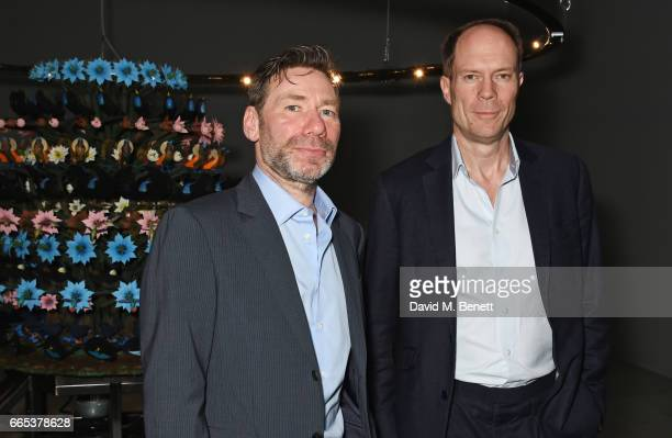 Mat Collishaw and Harry Blain attend the Private View of 'Centrifugal Soul' by Mat Collishaw at Blain Southern on April 6 2017 in London England