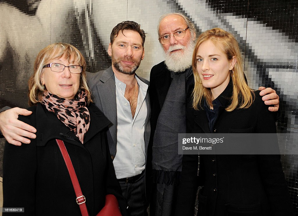 Mat Collishaw (2L) and Polly Morgan (R) pose with Mat's parents at a private view of 'Mat Collishaw: This Is Not An Exit' at Blaine/Southern Gallery on February 13, 2013 in London, England.