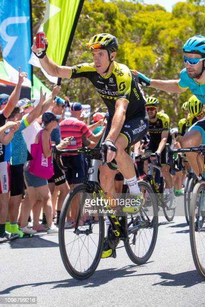 ADELAIDE AUSTRALIA JANUARY 20 Mat Hayman of Australia and MitcheltonSCOTT acknowledge the cheering crowd on his final professional race during Stage...