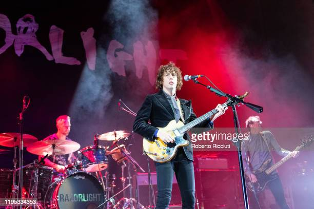 Mat Hector Johnny Borrell and Ben Ellis of Razorlight perform on stage at Usher Hall on January 22 2020 in Edinburgh Scotland