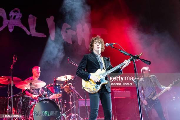 Mat Hector, Johnny Borrell and Ben Ellis of Razorlight perform on stage at Usher Hall on January 22, 2020 in Edinburgh, Scotland.