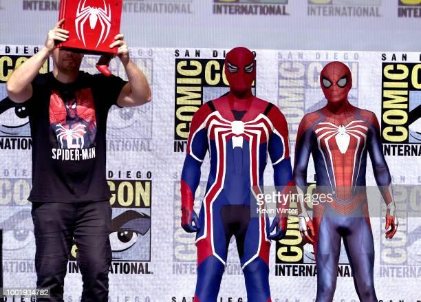 Mat Kraemer Heeyoung Lee Pine Sohn and Jason Bender speak onstage during the Marvel Games Panel during ComicCon International 2018 at San Diego...