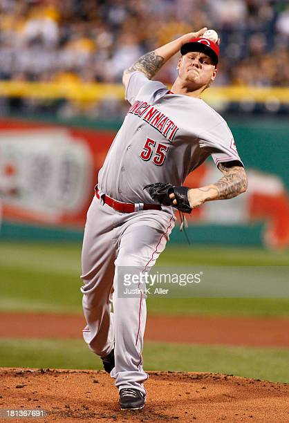 Mat Latos of the Cincinnati Reds pitches in the first inning against the Pittsburgh Pirates during the game on September 20 2013 at PNC Park in...