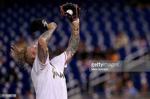 Mat Latos of the Miami Marlins pitches during a game against the Washington Nationals at Marlins Park on April 24 2015 in Miami Florida