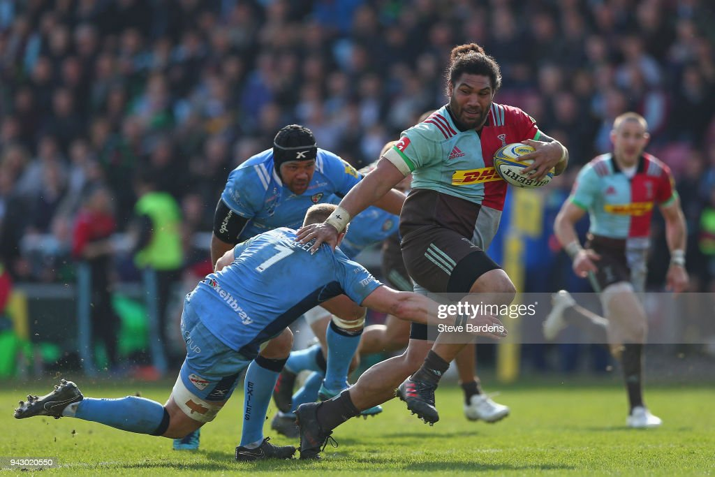 Mat Luamanu of Harlequins is tackled by Max Northcote-Green of London Irish defence during the Aviva Premiership match between Harlequins and London Irish at Twickenham Stoop on April 7, 2018 in London, England.