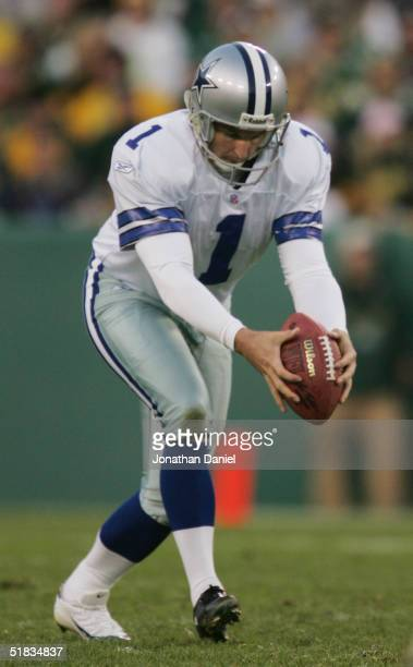 Mat McBriar of the Dallas Cowboys punts during the game against the Green Bay Packers at Lambeau Field on October 24 2004 in Green Bay Wisconsin The...