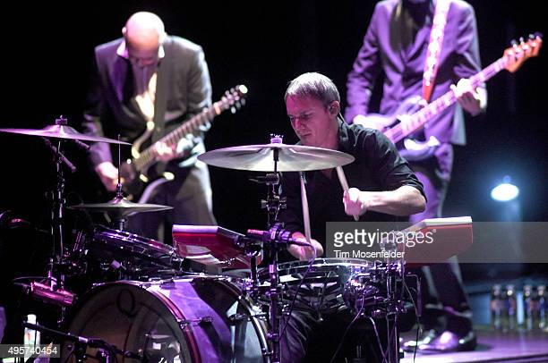 Mat Mitchell Jeff Friedl and Matt McJunkins of Puscifer perform during the band's Money Shot Tour at The Bass Concert Hall on November 4 2015 in...