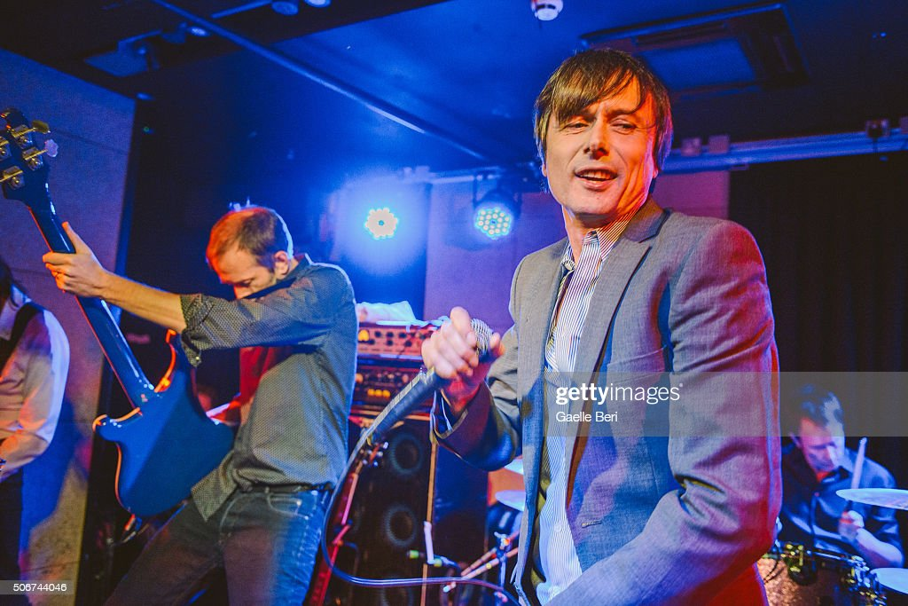 Mat Osman and Brett Anderson of Suede perform live at The Ace Hotel on January 25, 2016 in London, England.