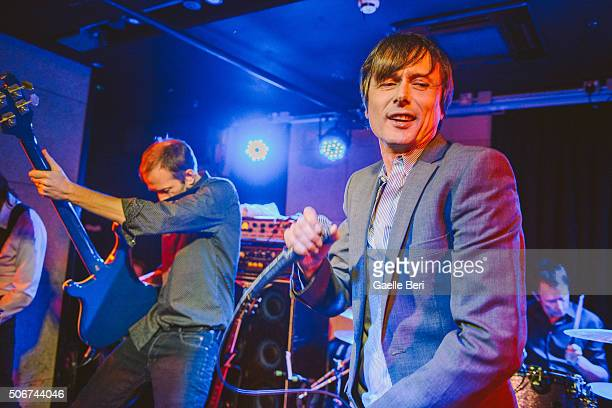 Mat Osman and Brett Anderson of Suede perform live at The Ace Hotel on January 25 2016 in London England