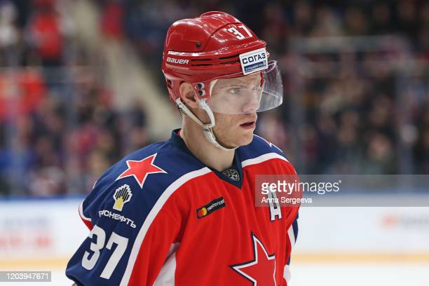 Mat Robinson of the CSKA looks on during the game against the SKA Saint Petersburg at the Arena CSKA Moscow on January 21, 2020 in Moscow, Russia.