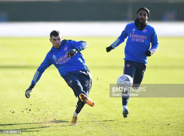 Mat Ryan and Alex Lacazette of Arsenal during a training session at London Colney on January 22, 2021 in St Albans, England.