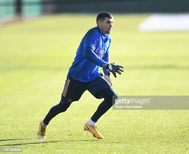 Mat Ryan of Arsenal during a training session at London Colney on January 22, 2021 in St Albans, England.