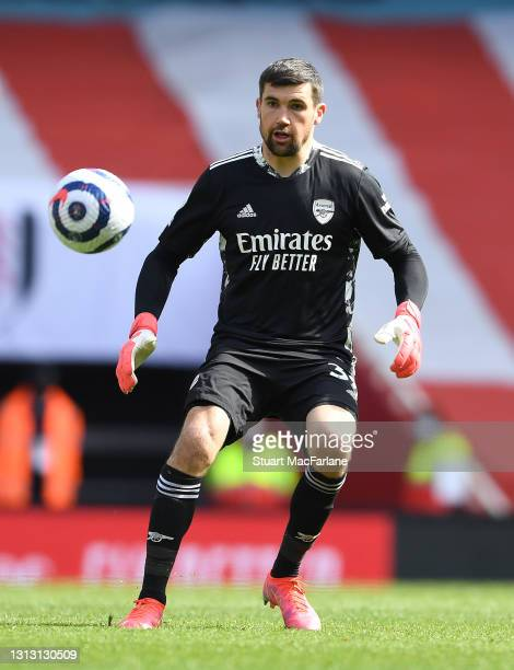 Mat Ryan of Arsenal during the Premier League match between Arsenal and Fulham at Emirates Stadium on April 18, 2021 in London, England. Sporting...