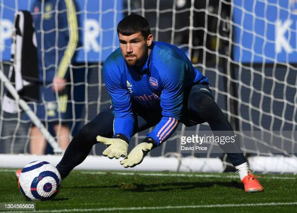 Mat Ryan of Arsenal warms up before the Premier League match between Leicester City and Arsenal at The King Power Stadium on February 28, 2021 in...