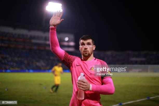 Mat Ryan of Australia greets the public after a first leg match between Honduras and Australia as part of FIFA World Cup Qualifiers Play Off at...