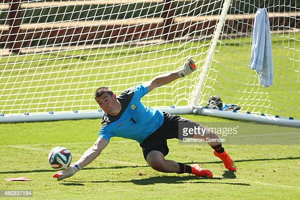 Mat Ryan of the Socceroos goalkeeps during an Australian Socceroos training session at Arena Unimed Sicoob on June 9 2014 in Vitoria Brazil
