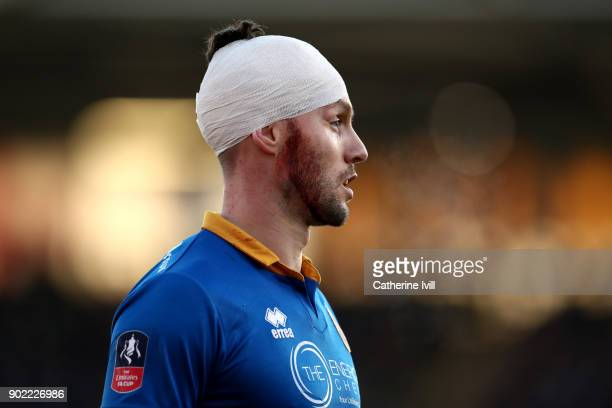 Mat Sadler of Shrewsbury Town during The Emirates FA Cup Third Round match between Shrewsbury Town and West Ham United at Montgomery Waters Meadow on...