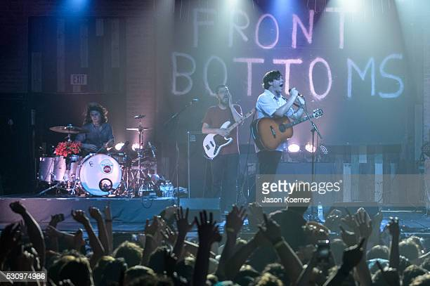 Mat Uychich Tom Warren and Brian Sella of The Front Bottoms perform at Revolution on May 10 2016 in Fort Lauderdale Florida