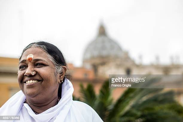 Mata Amritanandamayi Indian spiritual leader and humanitarian visits St Peter's Square outside The Vatican ahead of the signing of the Universal...