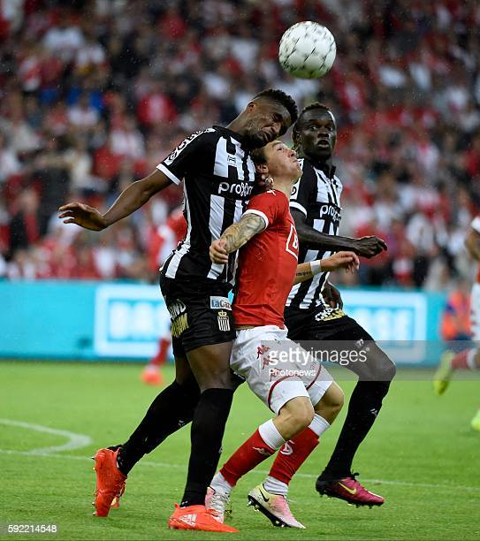 Mata Pedro Lourenco Mukoni Clinton midfielder of Charleroi and Benito Raman of Standard Liege pictured during Jupiler Pro League match between...