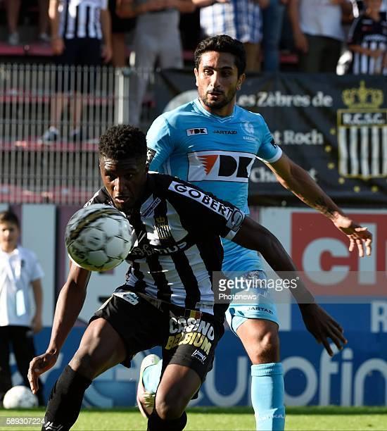 Mata Pedro Lourenco Mukoni Clinton midfielder of Charleroi and Kenneth Saief midfielder of KAA Gent pictured during Jupiler Pro League match between...