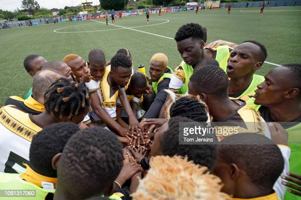 Matabeleland players come together before their 50 loss to Szekely Land in the Conifa World Football Cup 2018 at Coles Park Haringey on June 2nd 2018...