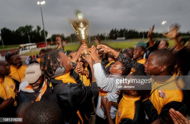 Matabeleland players get presented with a trophy after the Northern Cyprus v Karpatalya grand final match in the Conifa World Football Cup 2018 at...