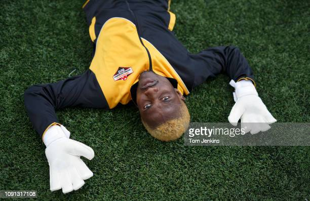 Matabelelandu201aÄôs reserve goalkeeper during warm up before their 50 loss to Szekely Land in the Conifa World Football Cup 2018 at Coles Park...