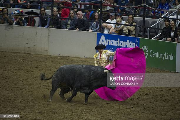 Matador Leonardo Rivera pits his cape against a bull during the 23rd Annual Mexican Rodeo Extravaganza at the National Western Stock Show in Denver...