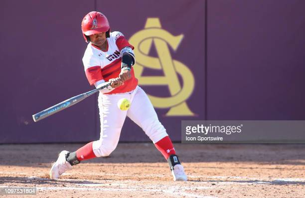 Matadors third baseman Jessica Alexander hits the ball during the a college softball game between the CSUN Matadors and the Arizona State Sun Devils...