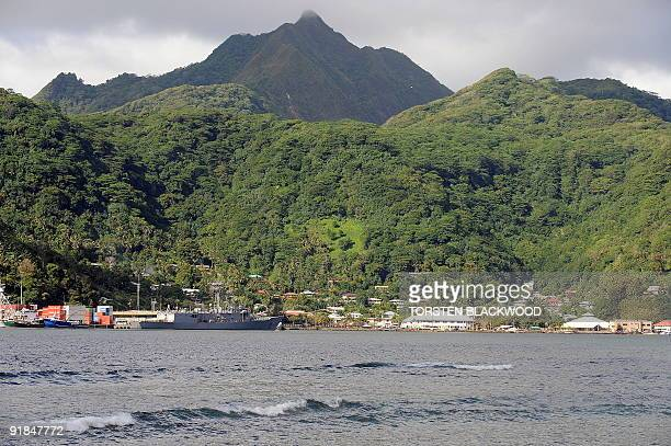 Matafao Peak dominates the skyline above Pago Pago Harbour in American Samoa on October 3 2009 The spectacular harbour is the remains of the volcanic...