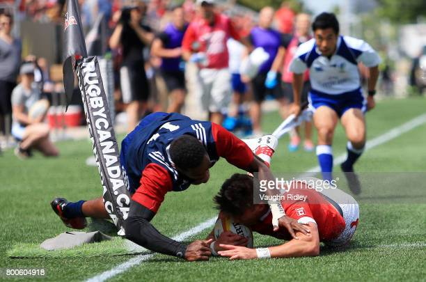 Matai Leuta of the USA fails to stop DTH Van Der Merwe of Canada scoring his second try in the first half of a Rugby World Cup 2019 Qualifier match...