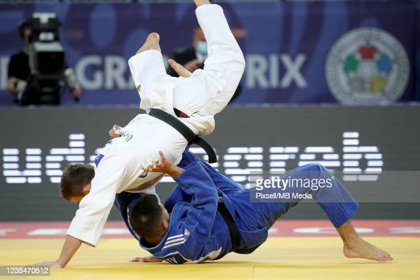Matan Kokolayev of Israel and Samuel Hall of Great Britain compete in the Men's -60kg semifinal match during day one of the Judo Grand Prix Zagreb...